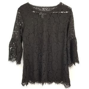 Isaac Mizrahi Live Women's Black Lace Blouse